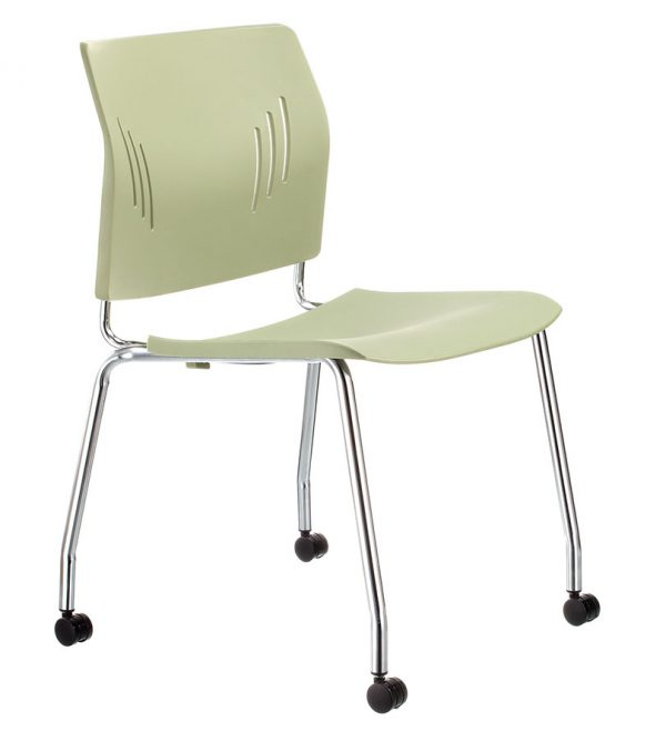 ACE-07C-side chair-with caster-olive green